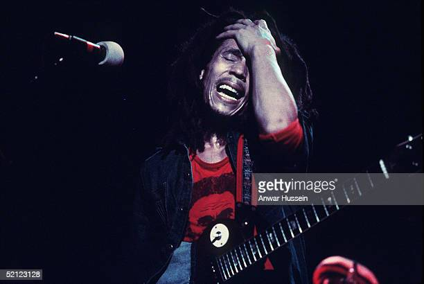 Jamaican reggae legend Bob Marley performs live on stage in June 1977 at the Hammersmith Odeon London England