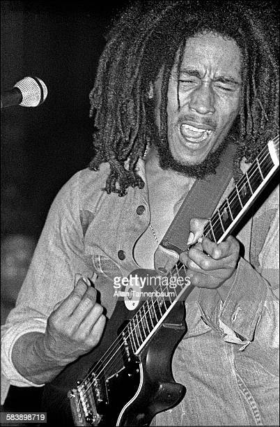 Jamaican Reggae musician Bob Marley in concert at the Beacon Theater New York New York April 30 1976