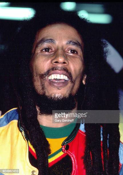 Jamaican Reggae musician Bob Marley leads his band the Wailers during a performance in the 'Uprising' tour at Madison Square Garden , New York, New...