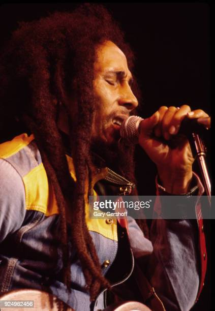 Jamaican Reggae musician Bob Marley leads his band the Wailers during a performance in the 'Uprising' tour at Madison Square Garden New York New York...