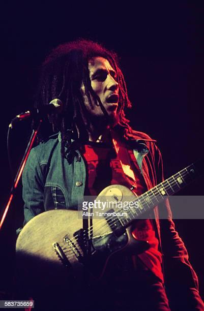 Jamaican Reggae musician Bob Marley performs onstage New York New York April 1976