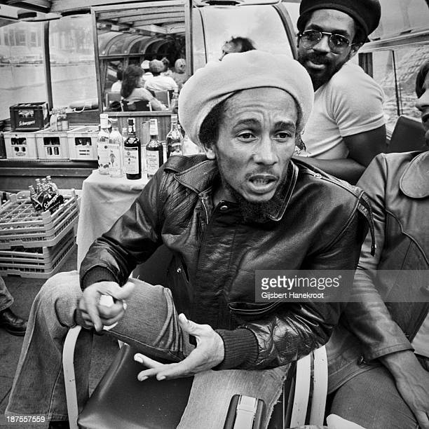 Jamaican reggae musician Bob Marley poses on a river boat in Amsterdam Netherlands in 1976