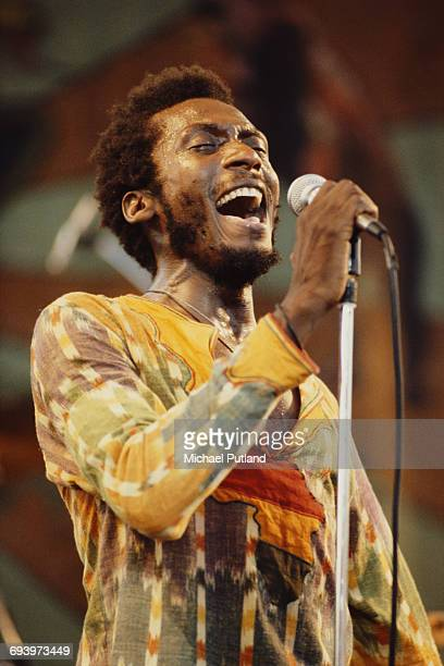 Jamaican reggae musician Jimmy Cliff performing at the Capital Radio Jazz Festival at Knebworth House, Hertfordshire, 17th July 1982.