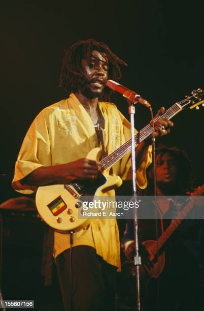 Jamaican Reggae musician Peter Tosh performing at the Palladium in New York as support for The Rolling Stones 19th June 1978