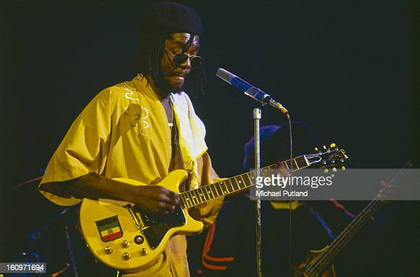 Jamaican reggae musician Peter Tosh performing on stage at the Palladium Theatre in New York 1978