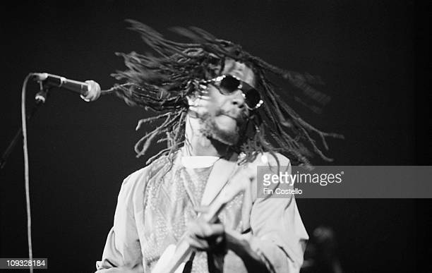 Jamaican reggae musician Peter Tosh performs live on stage at the Rainbow Theatre in Finsbury Park London on June 30 1981