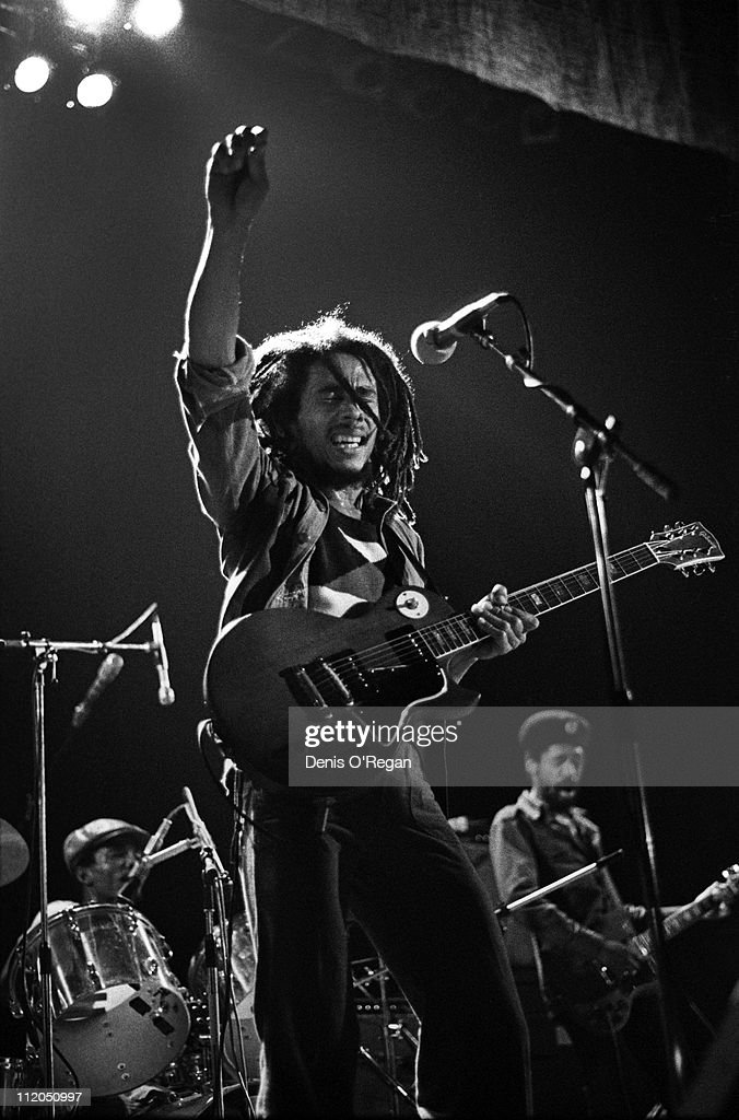 Jamaican reggae singer Bob Marley performing on stage at the    News