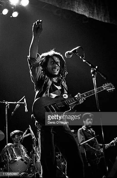 Jamaican reggae singer Bob Marley performing on stage at the Hammersmith Odeon London 1976