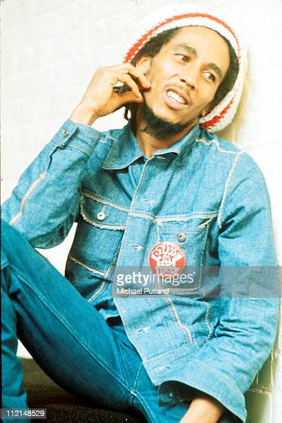 Jamaican reggae singer-songwriter and musician Bob Marley at the offices of Island Records, London, 24th July 1975.