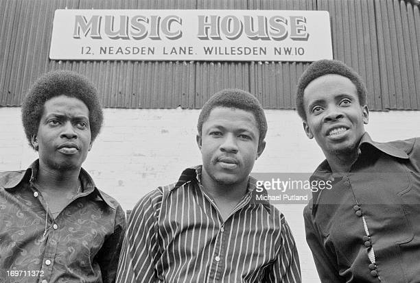Jamaican reggae vocal trio The Pioneers in Willesden London 16th June 1972 Left to right George Agard Sydney Crooks and Jackie Robinson