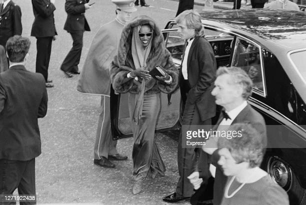 Jamaican singer and actress Grace Jones at the premiere of the James Bond film 'A View to a Kill' London UK 12th June 1985 She stars as May Day in...