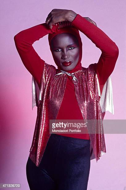 Jamaican singer and actress Grace Jones posing in stage costume 1987