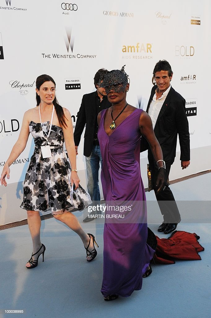 Jamaican singer and model Grace Jones poses while arriving to attend the 2010 amfAR's Cinema Against Aids on May 20, 2010 in Antibes, southeastern France.