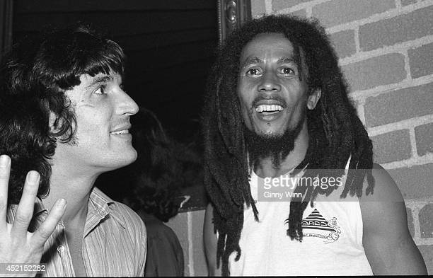 Jamaican singer and songwriter Bob Marley and Bass player Rick Danko July 26 1978 at The Daisy In Beverly Hills California