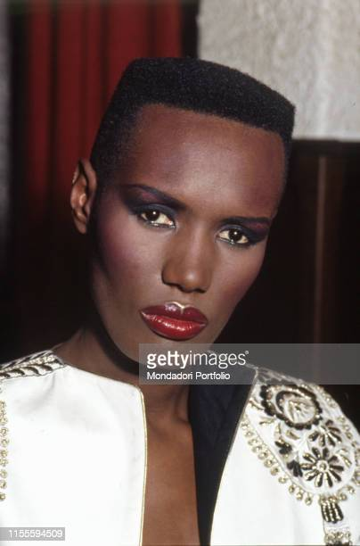 Jamaican singer Grace Jones posing for a photoshoot Italy 1981