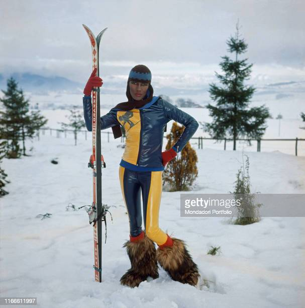 Jamaican singer Grace Jones posing for a photoshoot on the snow Italy 1978