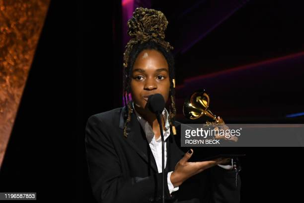 Jamaican singer Koffee accepts the award for Best Reggae Album during the 62nd Annual Grammy Awards pretelecast show on January 26 in Los Angeles