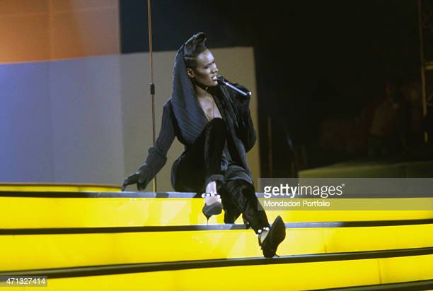 Jamaican singer model and actress Grace Jones performing at the music festival Vota la voce Italy 1989
