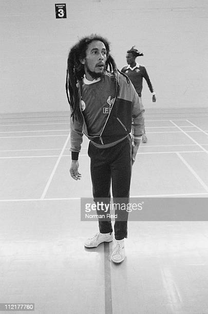 Jamaican singersongwriter Bob Marley playing in a football match against a team led by fellow reggae artist Eddy Grant Hammersmith Leisure Centre...