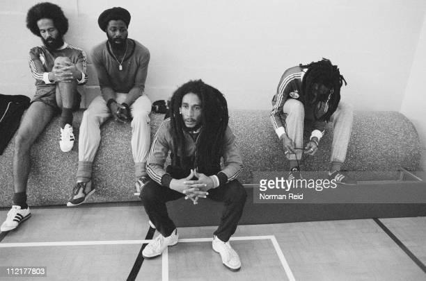Jamaican singersongwriter Bob Marley takes a break during a football match against a team led by fellow reggae artist Eddy Grant Hammersmith Leisure...