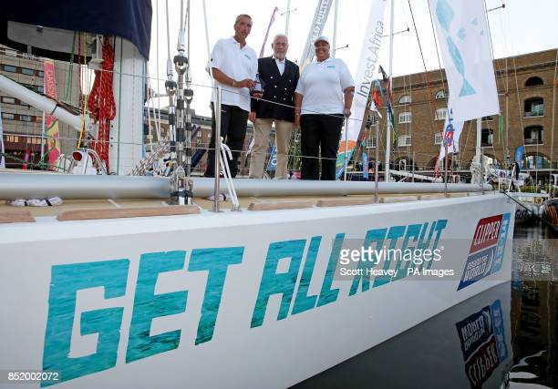 Jamaican Skipper Pete Stirling with Clipper race founder Sir Robin KnoxJohnston and the Jamaican High Commisioner Her Excellency Mrs Aloun...