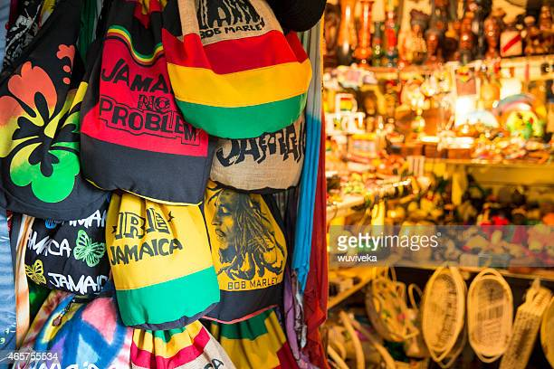 jamaican souvenirs stand in fort street, montego bay, jamaica - art and craft stock pictures, royalty-free photos & images