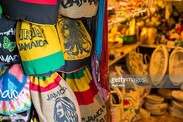 Jamaican souvenirs stand in Fort street, Montego Bay, Jamaica