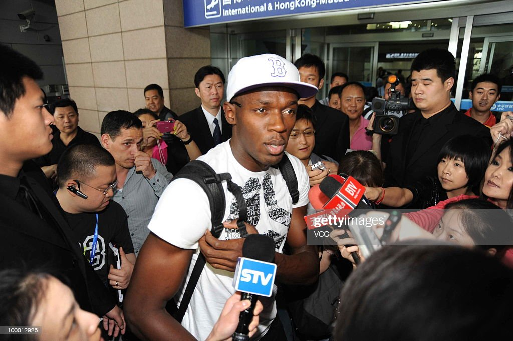 Jamaican sprinter and a three-time Olympic gold medalist Usain Bolt arrives at Shanghai Pudong airport for the IAAF Diamond League Shanghai on May 20, 2010 in Shanghai, China.