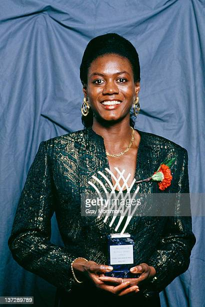 Jamaican sprinter Merlene Ottey with the women's trophy for IAF Athlete of the Year at the International Athletic Foundation World Athletics Gala in...