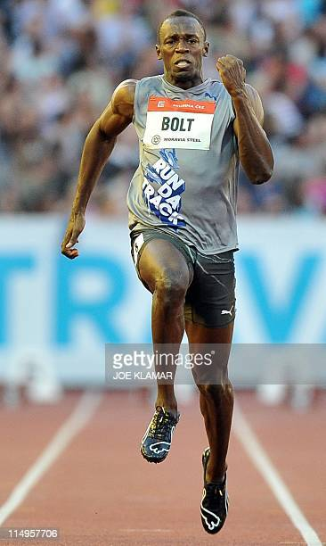 Jamaican sprinter Usain Bolt competes in the men's 100m sprint on May 31 2011 at the Zlata Tretra athletics meeting in the eastern Czech city of...