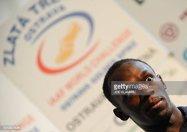 Jamaican sprinter Usain Bolt gives a press conference on May 26 2010 on the eve of the Zlata Tretra athletic meeting in the eastern Czech city of...