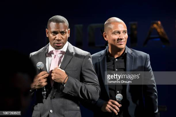 Jamaican sprinter Yohan Blake and Timothy Spencer attend the Richard Mille party 'Ginza' at Mandarin Oriental Tokyo on November 13 2018 in Tokyo Japan