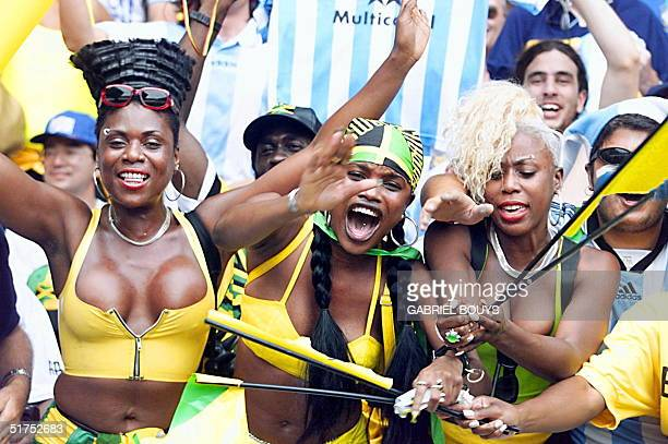 Jamaican supporters cheer for their team the Reggae Boyz before the 1998 Soccer World Cup Group H first round match between Jamaica and Argentina 21...