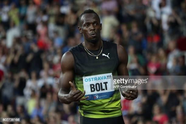 Jamaican Usain Bolt reacts during the IAAF World Challenge Zlata Tretra athletics tournament in Ostrava Czech Republic on June 28 2017 / AFP PHOTO /...