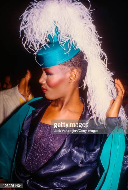 Jamaican-American music, model, and actress Grace Jones poses for fans at the Electric Circus mightclub, New York, New York, April 25, 1979.