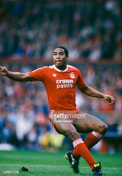 Jamaican-born, British footballer John Barnes in action for Liverpool, 1988.