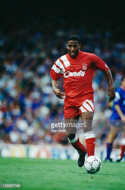 Jamaican-born, British footballer John Barnes in action for Liverpool, 1991.