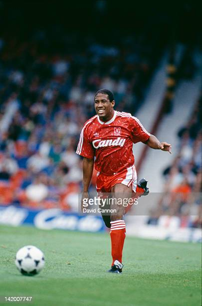 Jamaicanborn British footballer John Barnes in action for Liverpool in a League Division 1 match against Norwich City at Anfield Liverpool 16th...