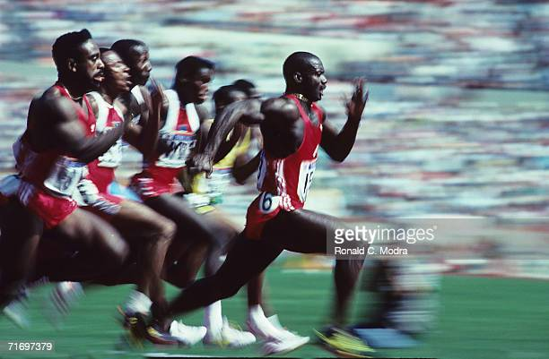 Jamaicanborn Canadian Ben Johnson speeds to win the Olympic 100m final in a world record 979 seconds September 24 1988 at Seoul Olympic Stadium in...