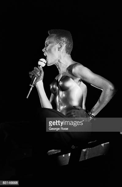 Jamaican-born singer, fashion model and actress, Grace Jones, performs onstage during a 1981 Irvine, California, concert at Lion Country Safari. The...
