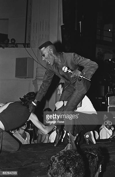Jamaicanborn singer fashion model and actress Grace Jones performs onstage during a 1981 New York New York concert at the Savoy Club The androgynous...