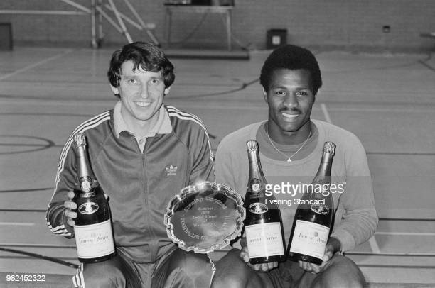 Jamaican-English soccer player Luther Blissett of Watford FC celebrating being voted as the 'Footballer of the Month' by The Evening Standard with...