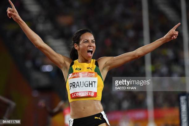 Jamaica's Aisha Praught wins the athletics women's 3000m steeplechase final during the 2018 Gold Coast Commonwealth Games at the Carrara Stadium on...