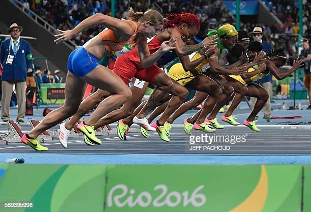Jamaica's Christania Williams, Ivory Coast's Marie-Josee Ta Lou, Jamaica's Elaine Thompson, USA's Tori Bowie, Jamaica's Shelly-Ann Fraser-Pryce,...