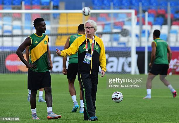 Jamaica's coach Winfried Schafer conducts a training session at the Calvo Bascunan stadium in Antofagasta Chile on June 12 on the eve of their first...