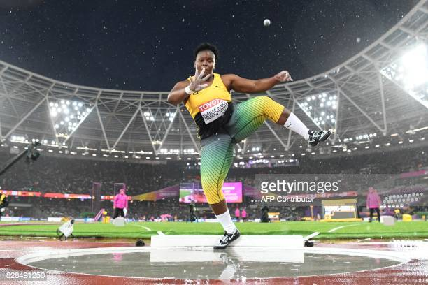 Jamaica's Danniel ThomasDodd competes in the final of the women's shot put athletics event at the 2017 IAAF World Championships at the London Stadium...