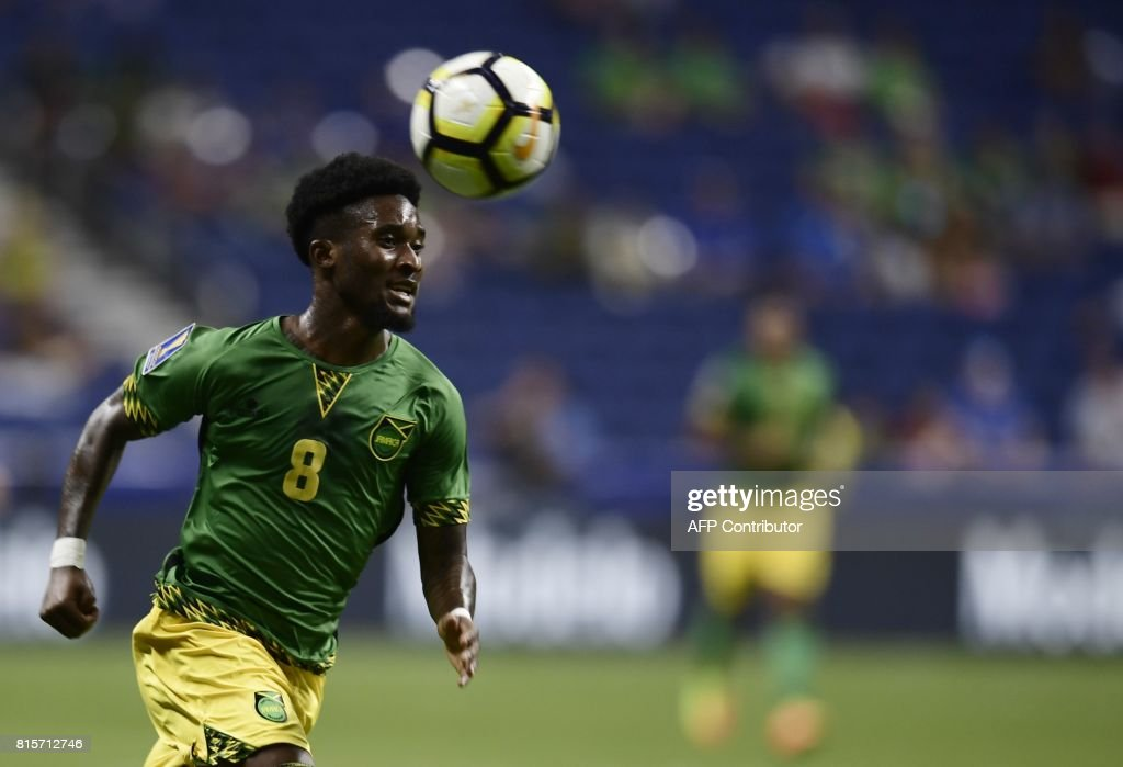 Jamaica's defender Oniel Fisher sprints down the field during the Jamaica vs. El Salvador CONCACAF Gold Cup match at the Alamodome on July 16, 2017 in San Antonio, Texas. / AFP PHOTO / Brendan Smialowski