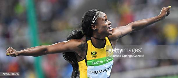 Jamaica's Elaine Thompson celebrates after winning the women's 100m final at the Summer Olympics in Rio de Janeiro Brazil on Saturday Aug 13 2016