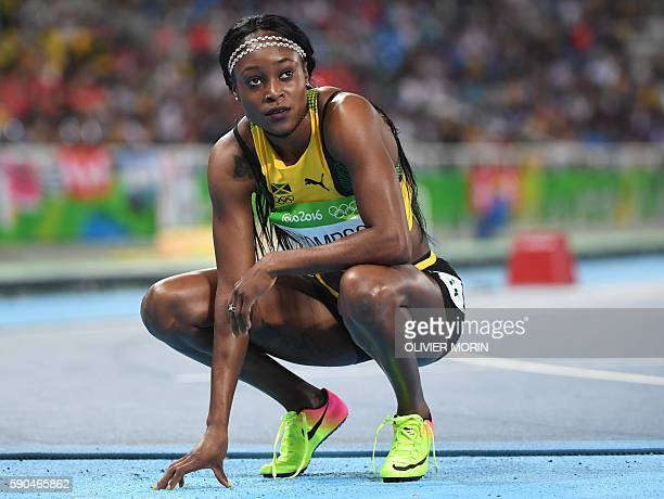 Jamaica's Elaine Thompson looks on after competing in the Women's 200m Semifinal during the athletics event at the Rio 2016 Olympic Games at the...