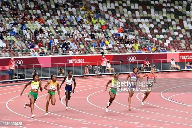 Jamaica's Elaine Thompson-Herah, Ivory Coast's Marie-Josee Ta Lou, Namibia's Christine Mboma, Jamaica's Shelly-Ann Fraser-Pryce, USA's Gabrielle...